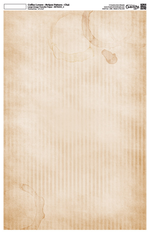 """Coffee Lovers - Stripes Pattern - Image Transfer Background Paper - Chai - 10"""" x 16"""""""
