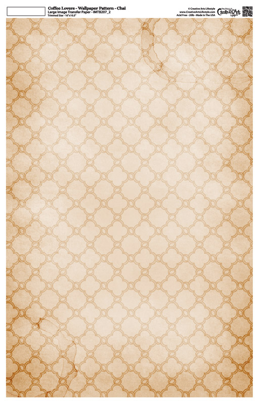 """Coffee Lovers -Wallpaper Pattern - Image Transfer Background Paper - Chai - 10"""" x 16"""""""