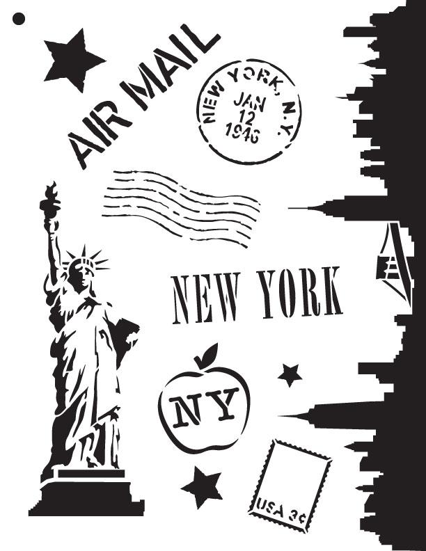 """Passport to New York - Art Stencil - 8.5"""" X 11"""""""