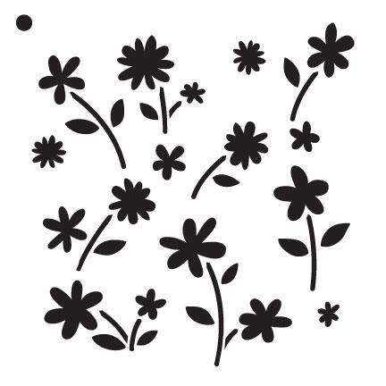 """Flower Power - Pattern Stencil - 6"""" x 6"""""""