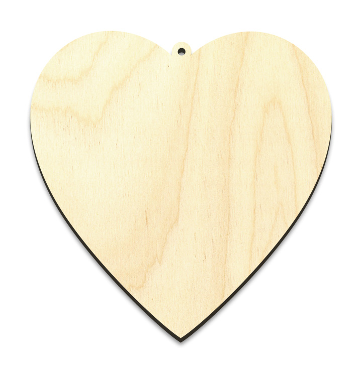 "Simple Heart Wood Surface - Ornament - 4"" x 3-7/8"""