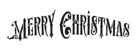 "Merry Christmas - Ornate - Victorian - Word Stencil- 8"" X 3"""
