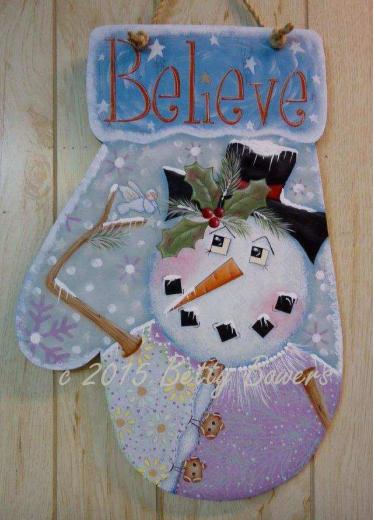 """Believe Snowman Mitten 12"""" x 18"""" - E-Packet - Betty Bowers"""