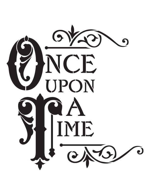 """Once Upon A Time Word Art Stencil - 8.5"""" x 11"""""""
