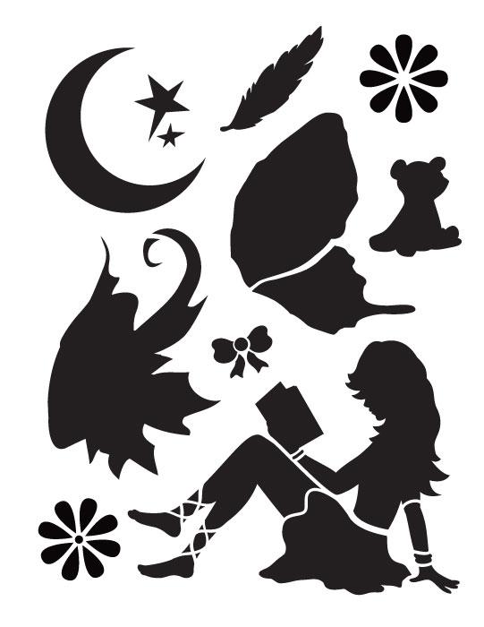 "Reading Fairy Art Stencil - 8.5"" x 11"""