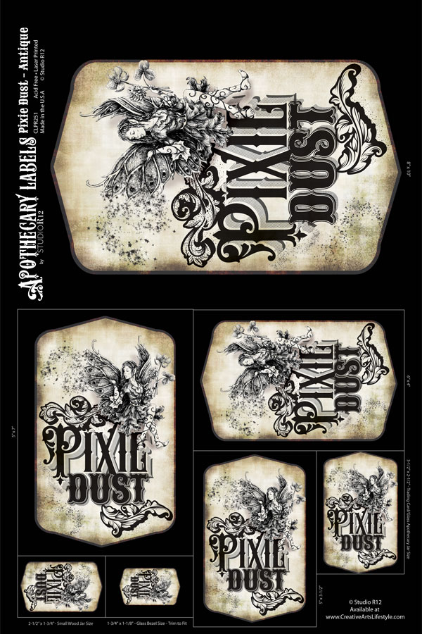 Antique Apothecary Label - Collage Papers - Pixie Dust -