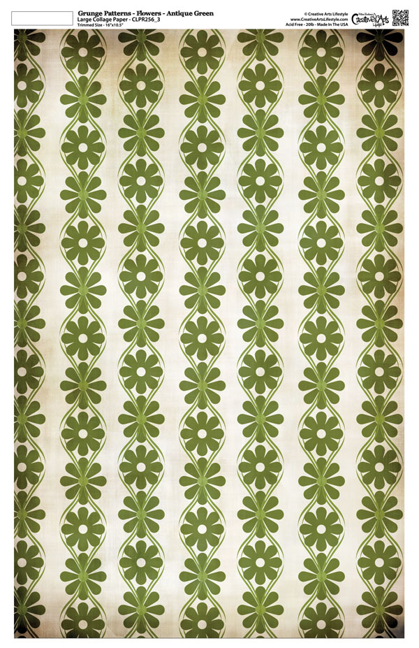 "Grunge Pattern Collage Paper - Flowers - Antique Green - 11"" x 17"" (10.5"" x 16.25"" artwork area)"
