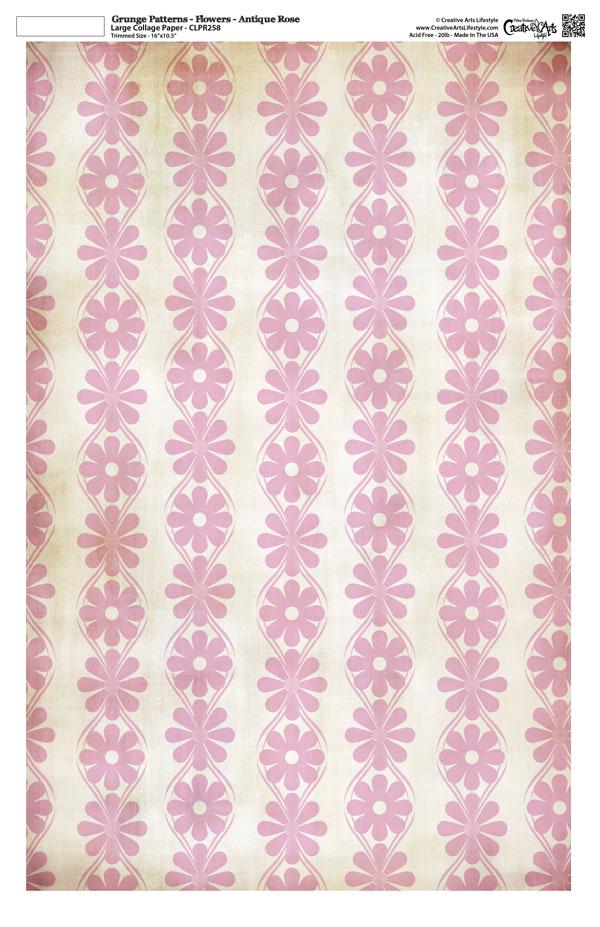 "Grunge Pattern Collage Paper - Flowers - Antique Rose - 11"" x 17"" (10.5"" x 16.25"" artwork area)"