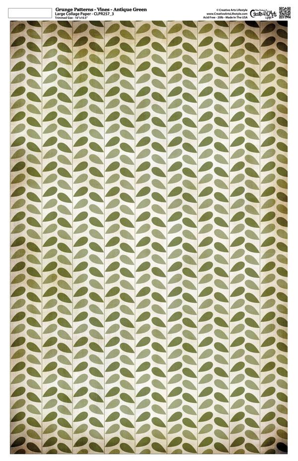 "Grunge Pattern Collage Paper - Vines - Antique Green - 11"" x 17"" (10.5"" x 16.25"" artwork area)"