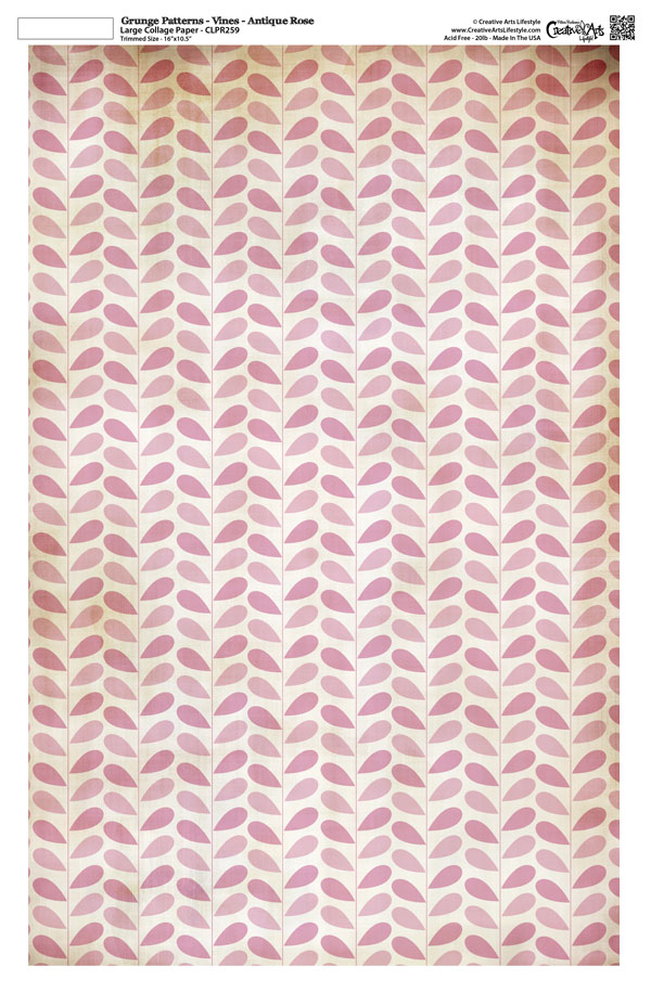 "Grunge Pattern Collage Paper - Vines - Antique Rose - 11"" x 17"" (10.5"" x 16.25"" artwork area)"