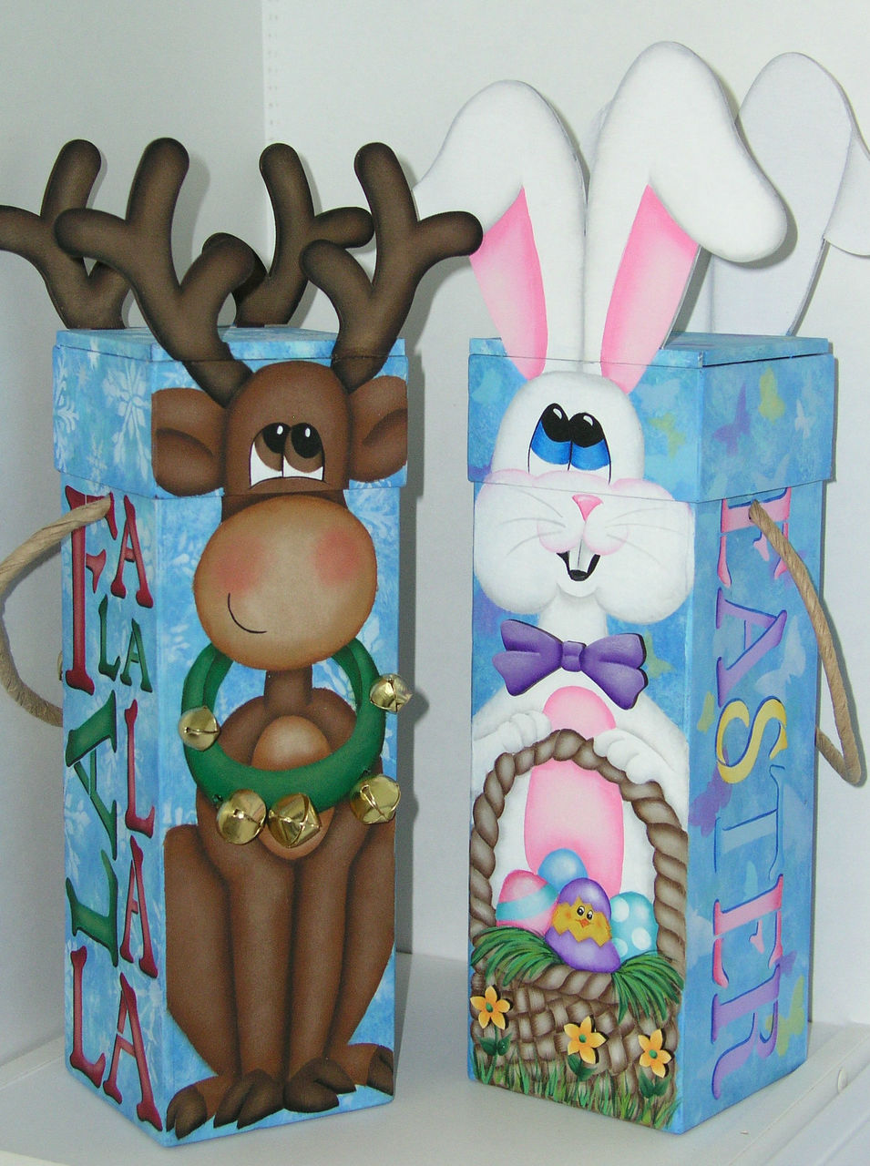 Reindeer and Bunny Wine Boxes - E-Packet - Jeanne Bobish