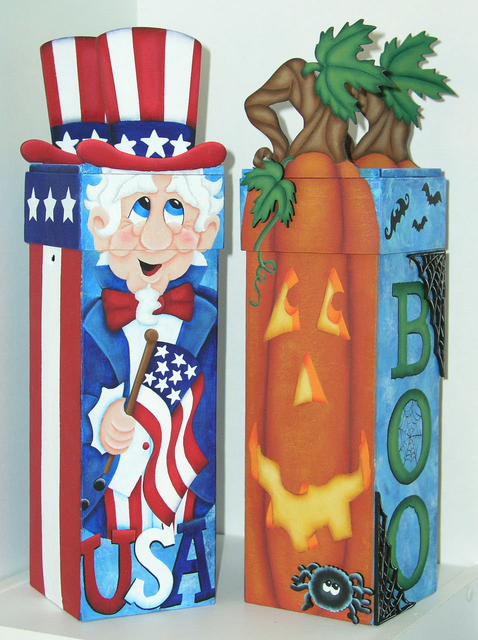 Uncle Sam and Halloween Pumpkin Wine Boxes - E-Packet - Jeanne Bobish