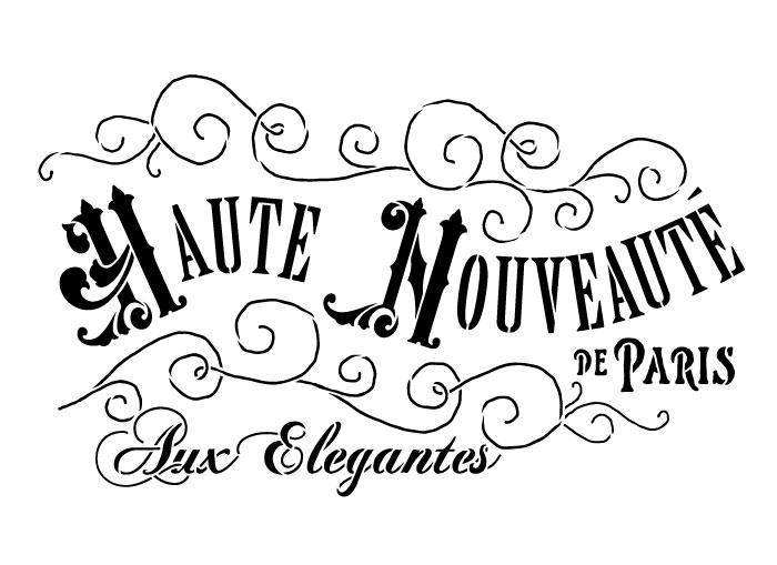 """Haute Nouveaute Word Art Stencil - 7"""" x 11"""""""