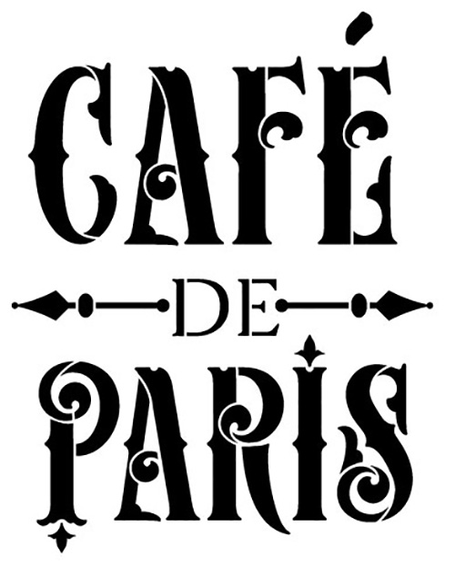 "Cafe de Paris Word Art Stencil - Victorian Vintage - 6"" x 6"""