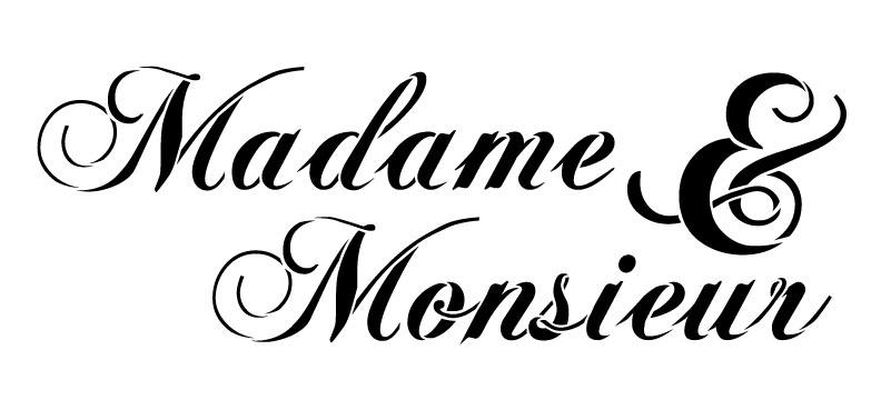 "Madame & Monseur Word Stencil - Elegant Script - 11"" x 5"""