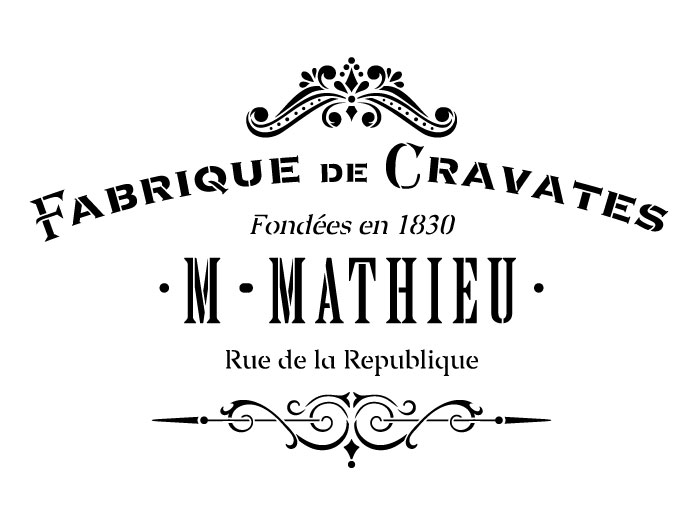 "Fabrique De Cravates Word Art Stencil - 11.75"" x 17.5"""