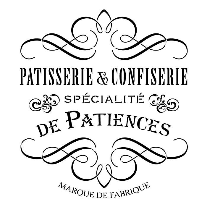 """Patisserie & Confiserie Word Art Stencil - 18"""" x 18"""""""