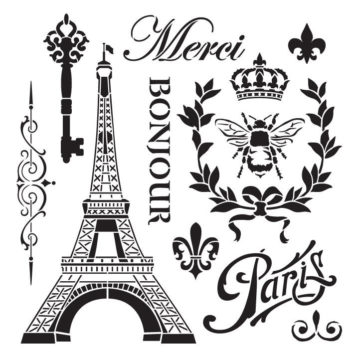 "La France Vintage Art Stencil - 15"" x 15"""