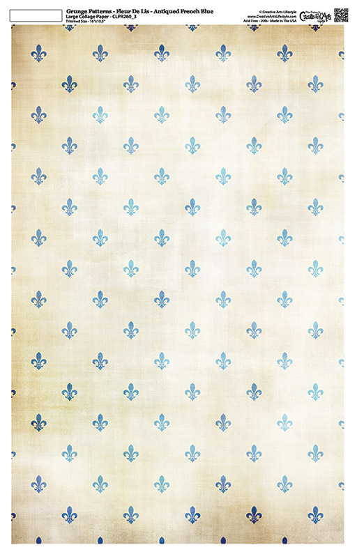 "Grunge Pattern Collage Paper - Fleur De Lis - Antique French Blue - 11"" x 17"" (10.5"" x 16.25"" artwork area)"