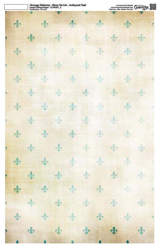 """Grunge Pattern Collage Paper - Fleur De Lis - Antique Teal - 11"""" x 17"""" (10.5"""" x 16.25"""" artwork area)"""
