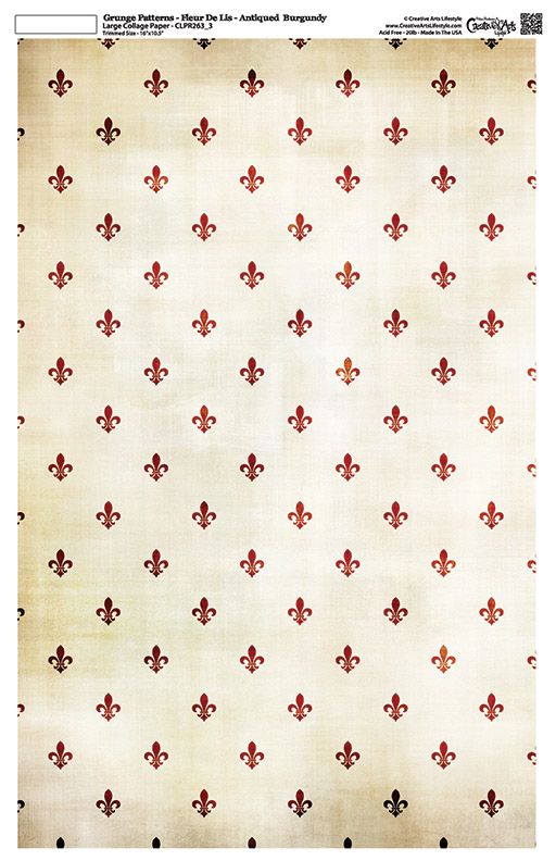 "Grunge Pattern Collage Paper - Fleur De Lis - Antique Burgundy - 11"" x 17"" (10.5"" x 16.25"" artwork area)"
