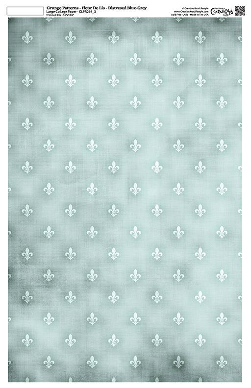 "Grunge Pattern Collage Paper - Fleur De Lis - Distressed Blue-Grey - 11"" x 17"" (10.5"" x 16.25"" artwork area)"