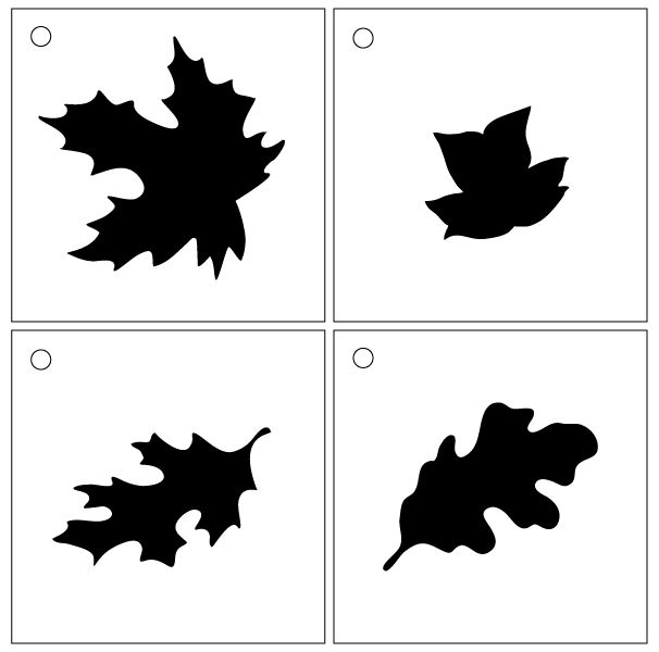 """Happy Fall Leaves Stencil - Set of 4 - 4"""" Leaves"""