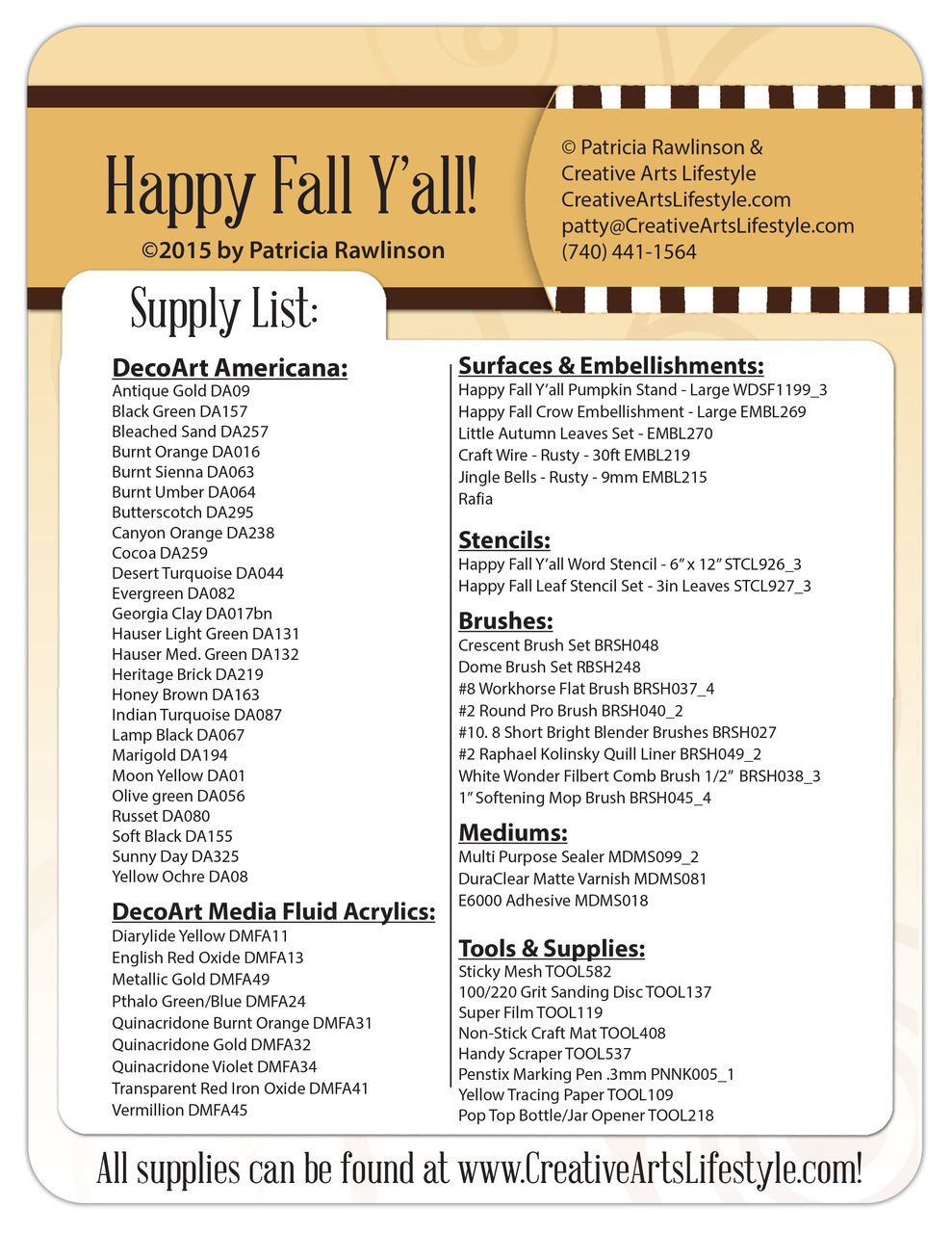 Happy Fall Y'all! Pattern Packet - Patricia Rawlinson