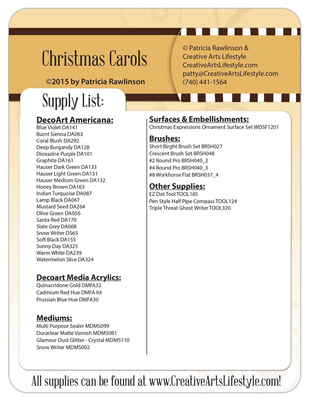 Christmas Carols Pattern Packet - Patricia Rawlinson