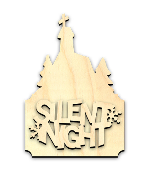 "Silent Night Wood Surface - Ornament - 4"" x 5-3/4"""