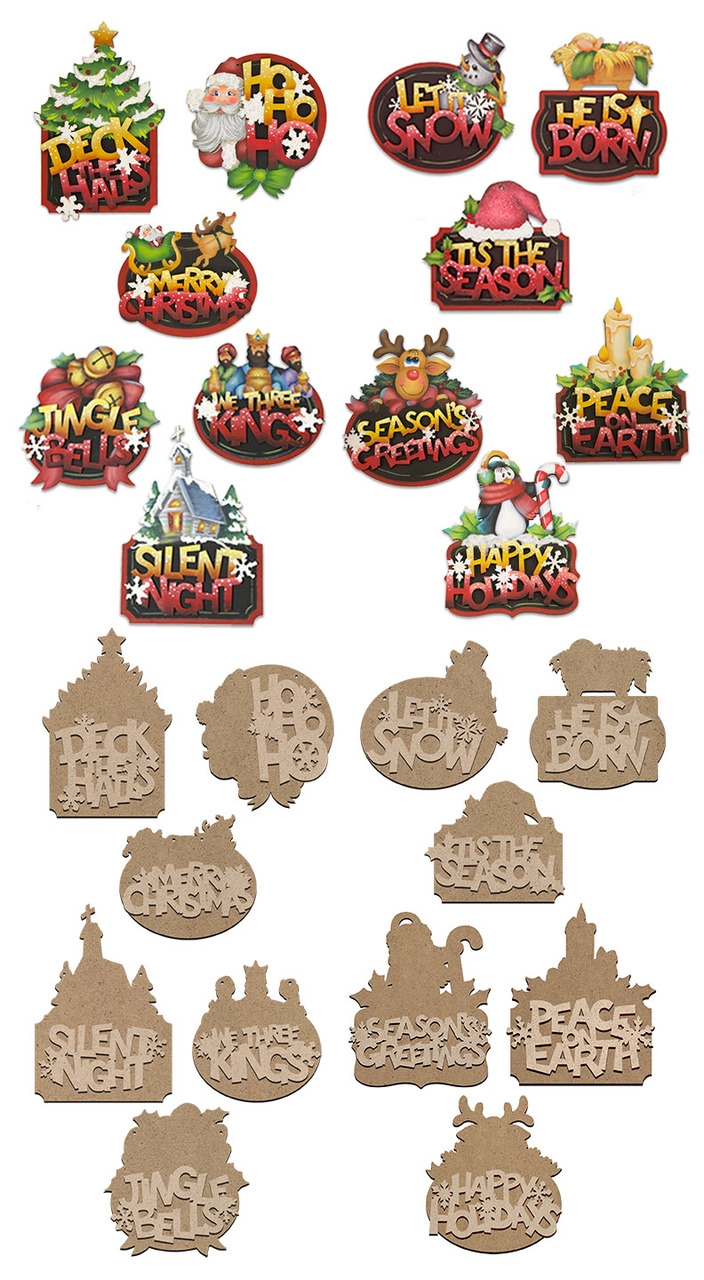 Christmas Word Ornaments Deluxe Pattern + Surface Set