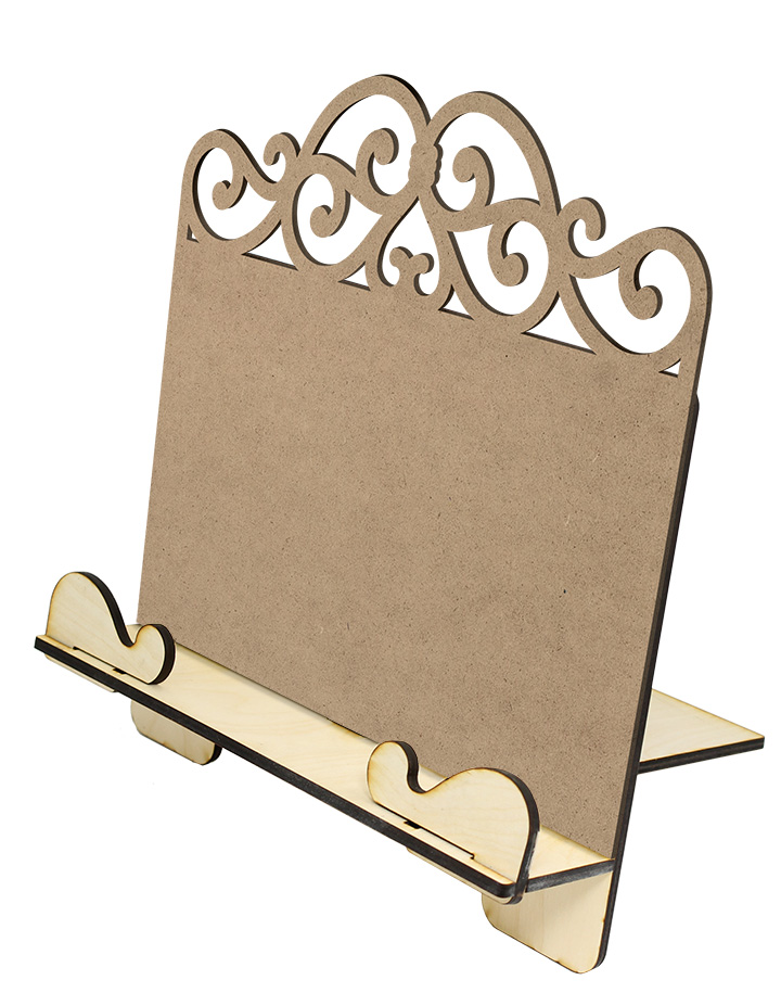 Simple Cookbook Stand and Elegant Scroll Insert Panel Set