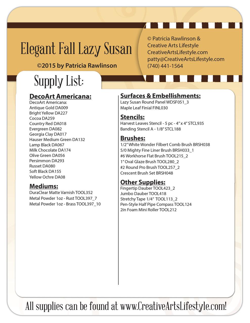 Elegant Fall Lazy Susan Pattern Packet - Patricia Rawlinson