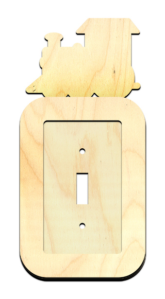 Train Light Switch Cover with Track Overlay