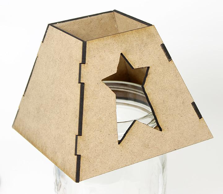 Mason Jar Lamp Shade - Primitive Star- Wide Mouth