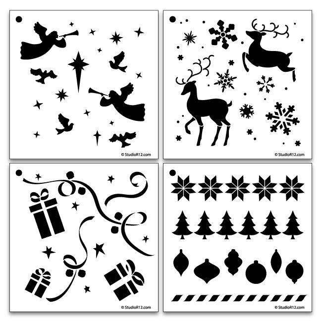 4 NEW Christmas Pattern Stencils Set