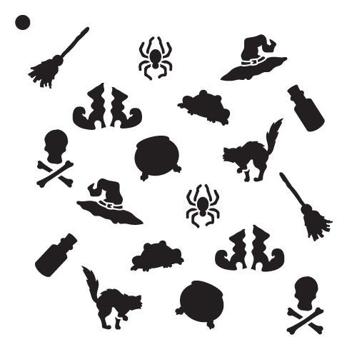 """Witchy Things Pattern Stencil - 6"""" x 6"""""""