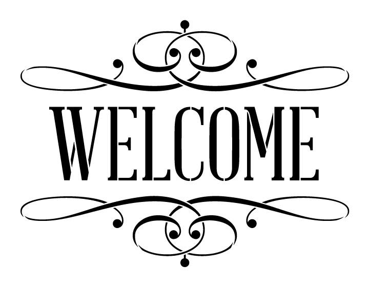 """Welcome Word Stencil - Skinny Serif with Flourish - 9"""" x 7"""""""