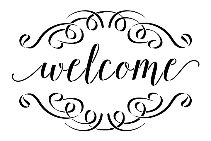 "Welcome Word Stencil  with Flourishes - 9"" x 6"" - STCL1007_1 - by StudioR12"