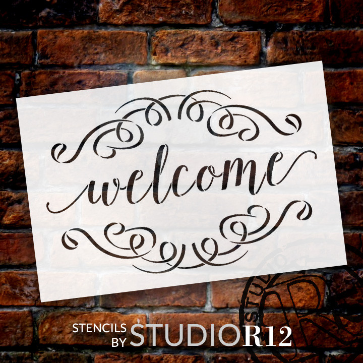 """Welcome Word Stencil  with Flourishes - 9"""" x 6"""" - STCL1007_1 - by StudioR12"""