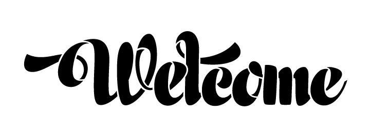 "Welcome Word Stencil - Retro Chunky Script - 24"" x 8"""