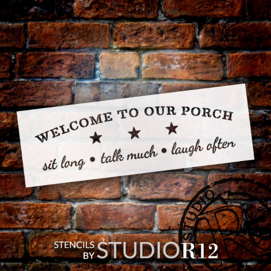 "Welcome To Our Porch - Word Art Stencil - 25"" x 8"" - STCL1009_2 - by StudioR12"