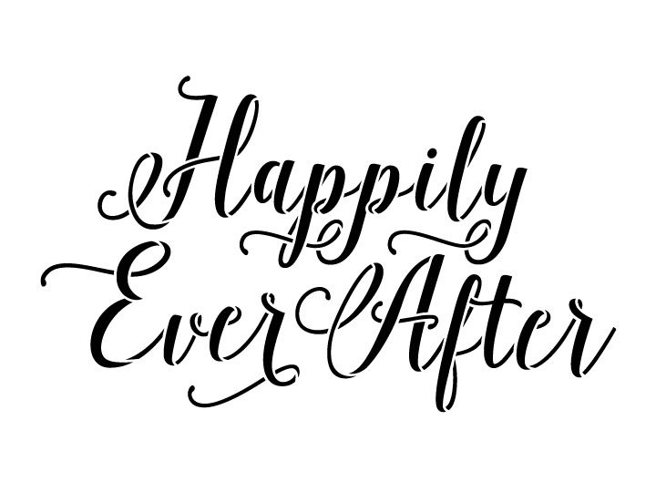 """Happily Ever After Word Art Stencil - Hand drawn Script - 12"""" x 9"""""""