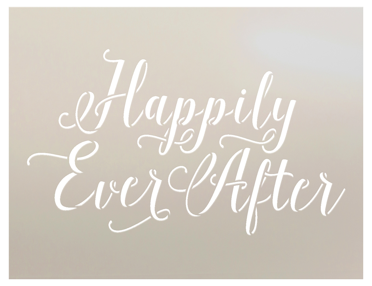 """Happily Ever After Word Art Stencil- Hand drawn Script - 19-1/2"""" x 15"""""""