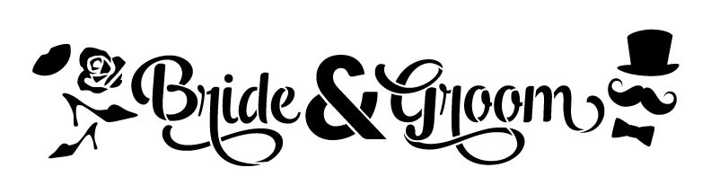 "Bride & Groom Word Art Stencil - Icons - 18"" x 5"""