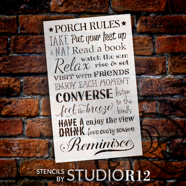 "Porch Rules Word Art Stencil - 12"" X 19-1/2"""