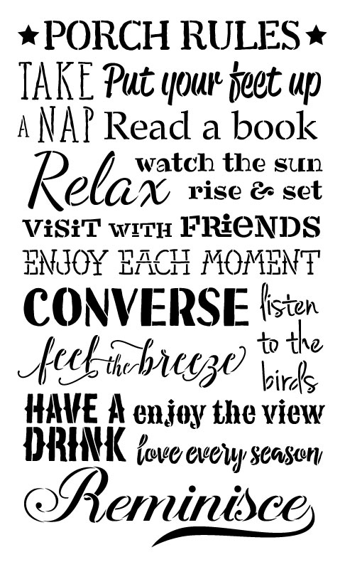 "Porch Rules Word Art Stencil - 18"" X 26"""