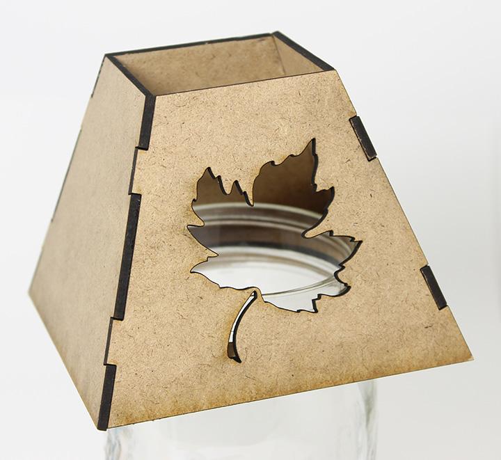 Mason Jar Lamp Shade - Autumn Leaf - Lid Light