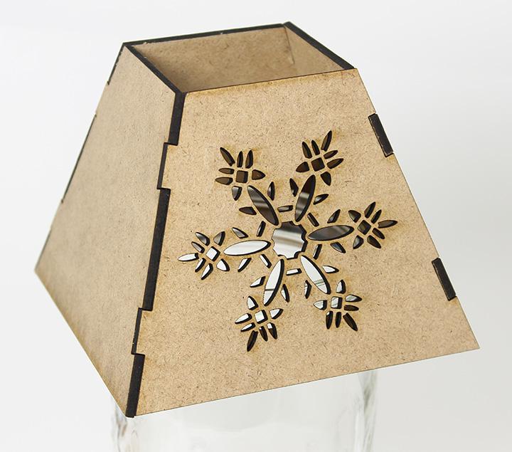 Mason Jar Lamp Shade - Snowflake - Lid Light