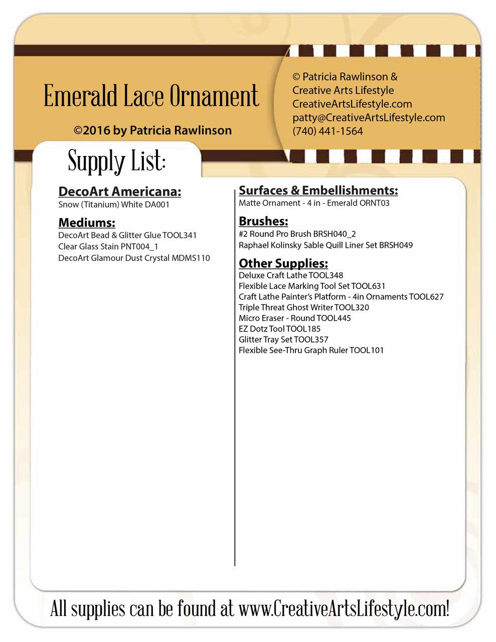 Emerald Lace Ornament - E-Packet - Patricia Rawlinson